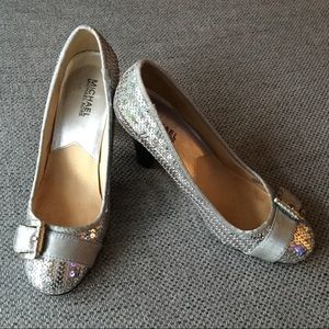 Michael Michael Kors Silver Sequin Heeled Pump